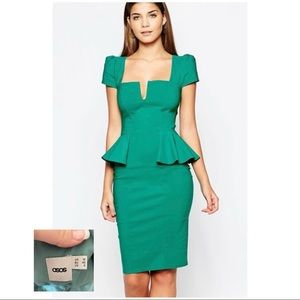 ASOS |LN| Green City Goddess Midi Peplum Dress